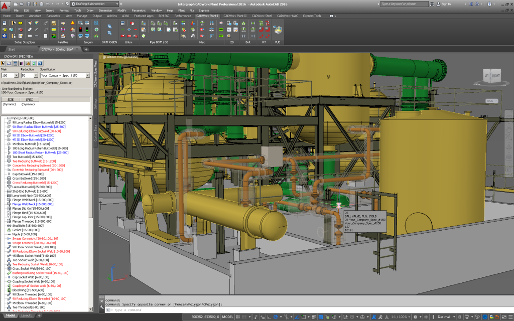 Screen showing main CADWorx application window with some 3D intelligent model