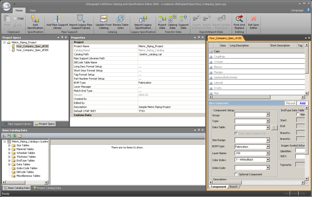 Screen showing CADWorx Specification Editor window with some sample specification opened