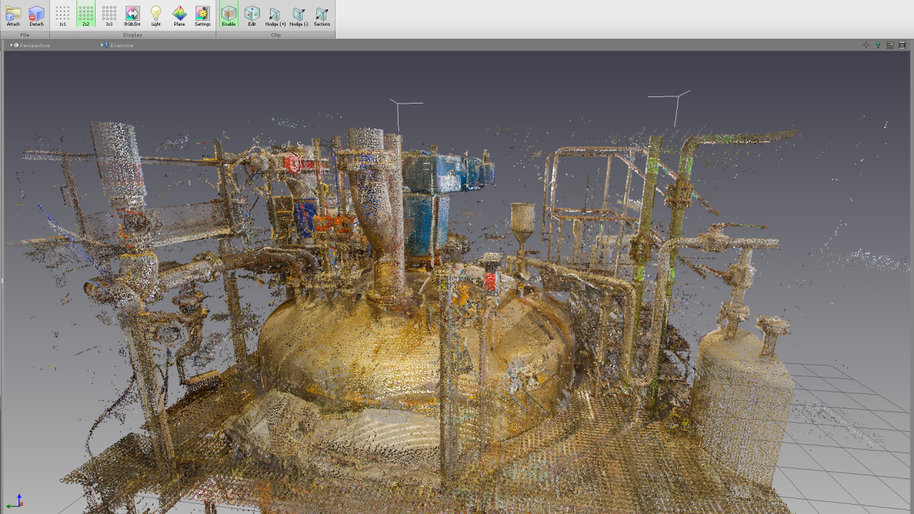 Point clouds as captured by the scanner (reflections clearly visable)