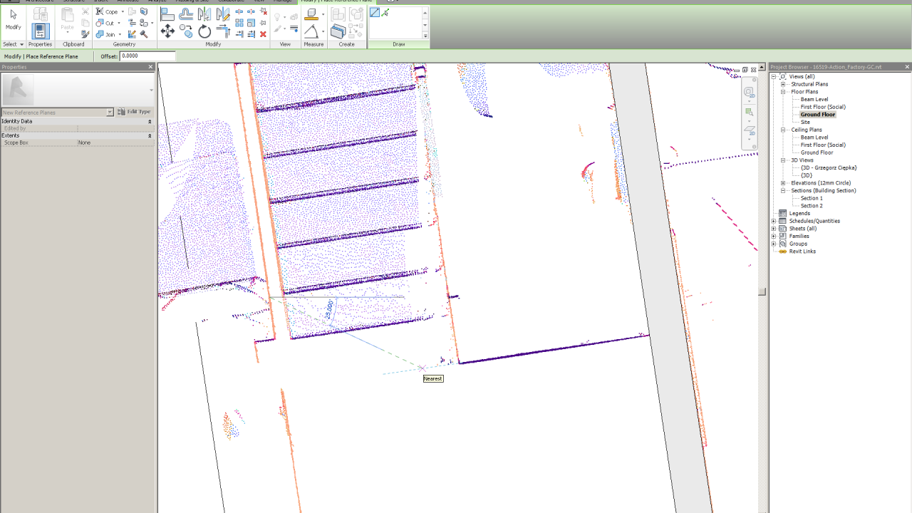 Point cloud snapping tool in Revit 2014