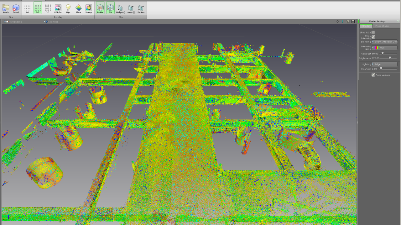 When point cloud is clipped, interesting objects are clearly visible