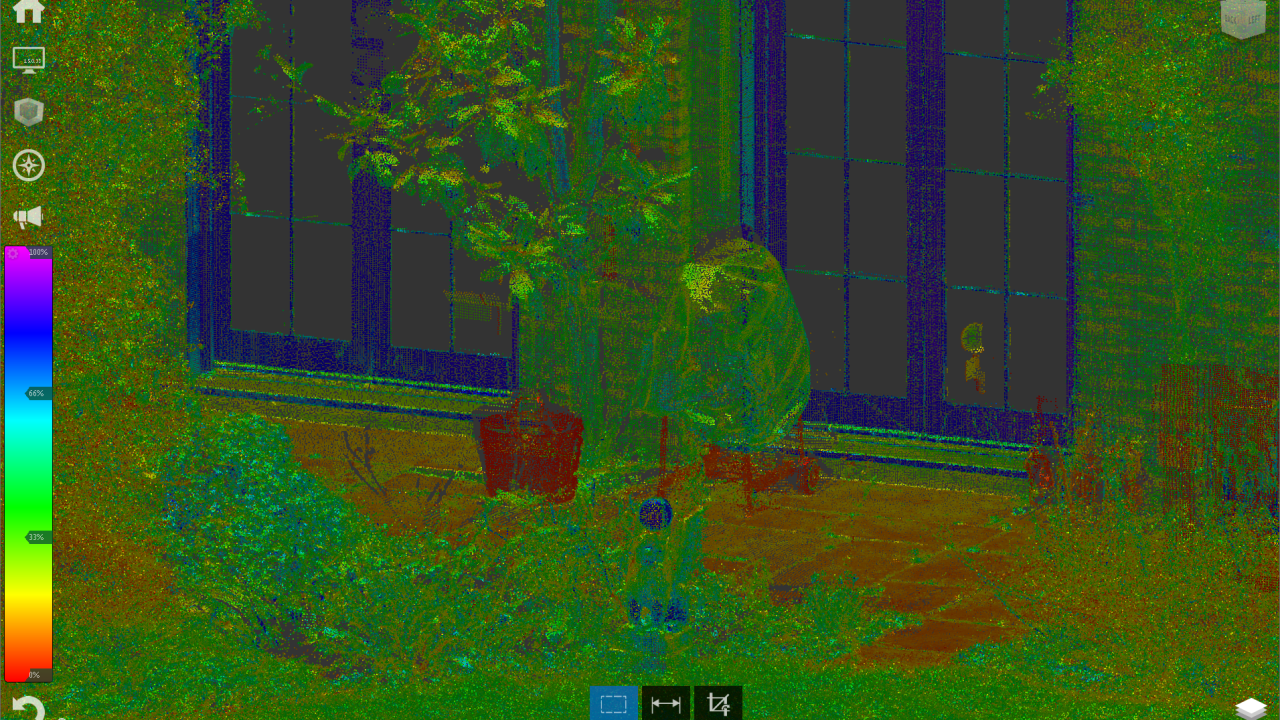 Point cloud colored by intensity – strength of signal reflection
